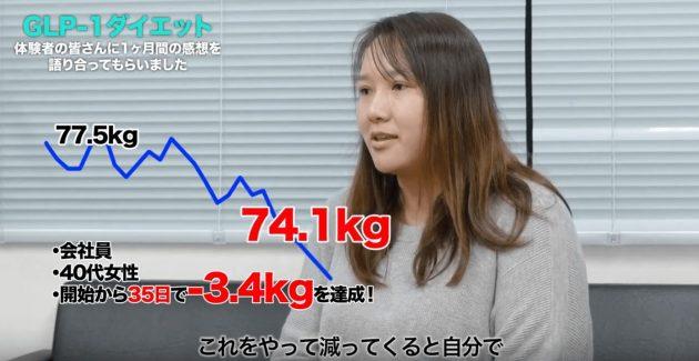 GLP-1ダイエットでたった1ヵ月で3.4kgのダイエットに成功した体験談を話すCさん