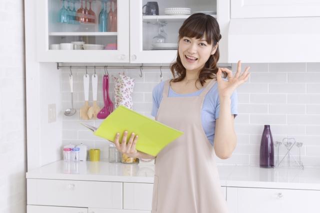 レシピ本を持ってOKサインする女性