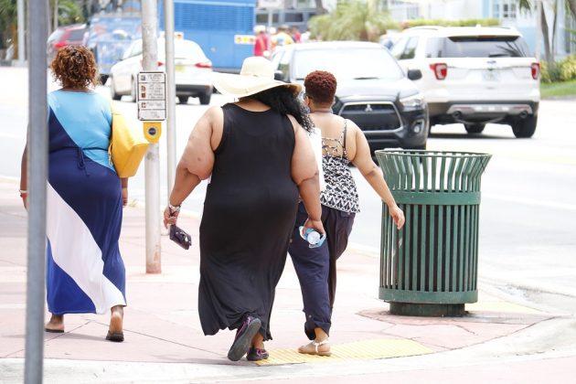 歩道を歩く太っている3人の女性