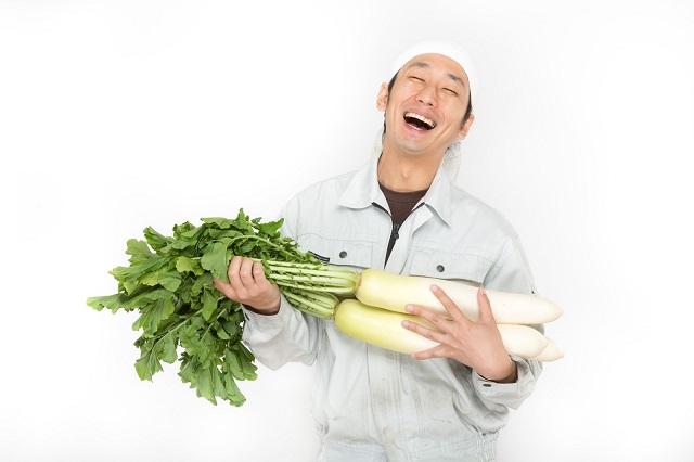 おでんダイエットに使う大根を持つ農業従事者
